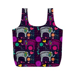 Colorful Elephants Love Background Full Print Recycle Bags (m)