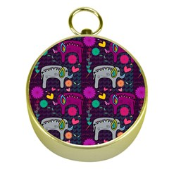 Colorful Elephants Love Background Gold Compasses