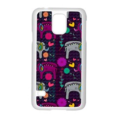 Colorful Elephants Love Background Samsung Galaxy S5 Case (White)