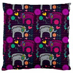 Colorful Elephants Love Background Standard Flano Cushion Case (One Side)