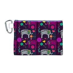 Colorful Elephants Love Background Canvas Cosmetic Bag (M)