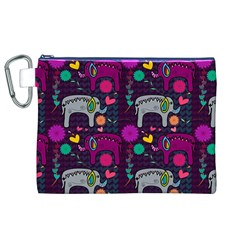 Colorful Elephants Love Background Canvas Cosmetic Bag (xl)