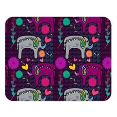Colorful Elephants Love Background Double Sided Flano Blanket (Large)