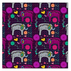 Colorful Elephants Love Background Large Satin Scarf (square)