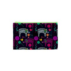 Colorful Elephants Love Background Cosmetic Bag (xs)