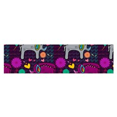 Colorful Elephants Love Background Satin Scarf (Oblong)