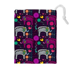 Colorful Elephants Love Background Drawstring Pouches (extra Large)