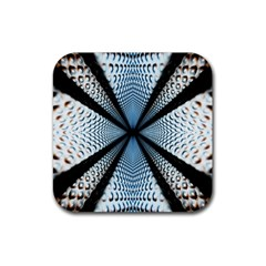 Dimension Metal Abstract Obtained Through Mirroring Rubber Square Coaster (4 Pack)