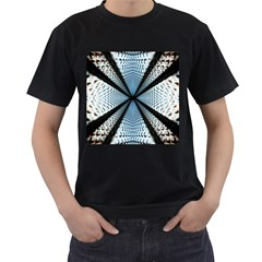 Dimension Metal Abstract Obtained Through Mirroring Men s T-Shirt (Black) (Two Sided)
