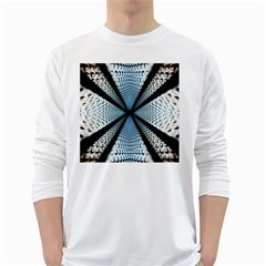Dimension Metal Abstract Obtained Through Mirroring White Long Sleeve T-Shirts