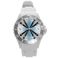 Dimension Metal Abstract Obtained Through Mirroring Round Plastic Sport Watch (L)