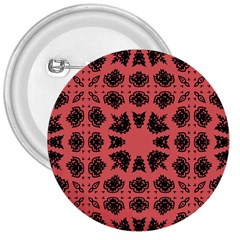 Digital Computer Graphic Seamless Patterned Ornament In A Red Colors For Design 3  Buttons