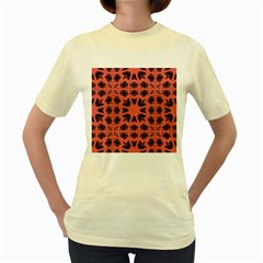 Digital Computer Graphic Seamless Patterned Ornament In A Red Colors For Design Women s Yellow T-Shirt