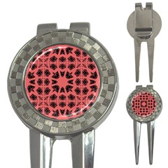 Digital Computer Graphic Seamless Patterned Ornament In A Red Colors For Design 3-in-1 Golf Divots