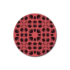 Digital Computer Graphic Seamless Patterned Ornament In A Red Colors For Design Rubber Coaster (round)