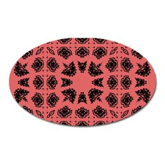 Digital Computer Graphic Seamless Patterned Ornament In A Red Colors For Design Oval Magnet