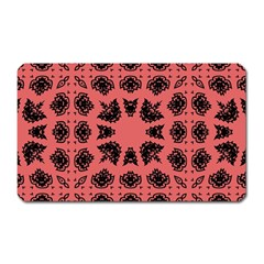 Digital Computer Graphic Seamless Patterned Ornament In A Red Colors For Design Magnet (Rectangular)