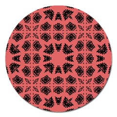 Digital Computer Graphic Seamless Patterned Ornament In A Red Colors For Design Magnet 5  (Round)