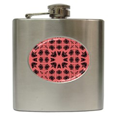 Digital Computer Graphic Seamless Patterned Ornament In A Red Colors For Design Hip Flask (6 Oz)