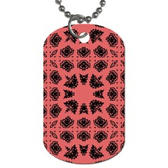 Digital Computer Graphic Seamless Patterned Ornament In A Red Colors For Design Dog Tag (Two Sides)