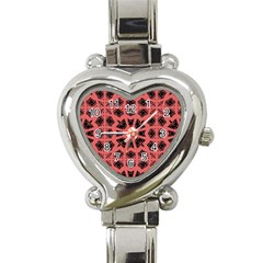 Digital Computer Graphic Seamless Patterned Ornament In A Red Colors For Design Heart Italian Charm Watch
