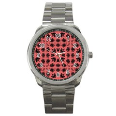 Digital Computer Graphic Seamless Patterned Ornament In A Red Colors For Design Sport Metal Watch