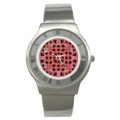 Digital Computer Graphic Seamless Patterned Ornament In A Red Colors For Design Stainless Steel Watch