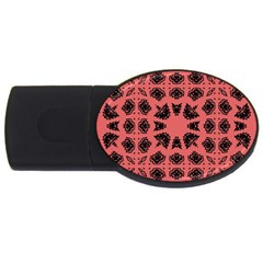 Digital Computer Graphic Seamless Patterned Ornament In A Red Colors For Design Usb Flash Drive Oval (4 Gb)