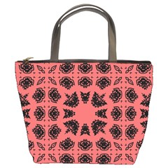 Digital Computer Graphic Seamless Patterned Ornament In A Red Colors For Design Bucket Bags