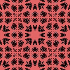Digital Computer Graphic Seamless Patterned Ornament In A Red Colors For Design Magic Photo Cubes