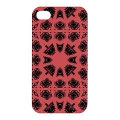 Digital Computer Graphic Seamless Patterned Ornament In A Red Colors For Design Apple Iphone 4/4s Premium Hardshell Case