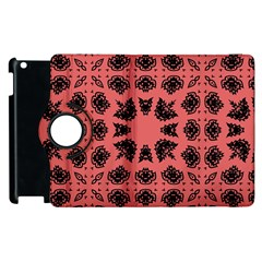 Digital Computer Graphic Seamless Patterned Ornament In A Red Colors For Design Apple iPad 2 Flip 360 Case