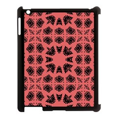 Digital Computer Graphic Seamless Patterned Ornament In A Red Colors For Design Apple iPad 3/4 Case (Black)