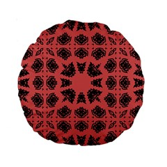 Digital Computer Graphic Seamless Patterned Ornament In A Red Colors For Design Standard 15  Premium Round Cushions