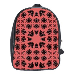 Digital Computer Graphic Seamless Patterned Ornament In A Red Colors For Design School Bags (XL)