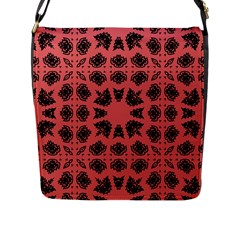 Digital Computer Graphic Seamless Patterned Ornament In A Red Colors For Design Flap Messenger Bag (l)