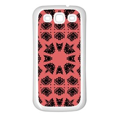 Digital Computer Graphic Seamless Patterned Ornament In A Red Colors For Design Samsung Galaxy S3 Back Case (White)