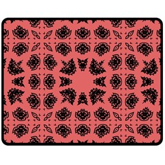 Digital Computer Graphic Seamless Patterned Ornament In A Red Colors For Design Double Sided Fleece Blanket (Medium)