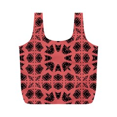 Digital Computer Graphic Seamless Patterned Ornament In A Red Colors For Design Full Print Recycle Bags (M)