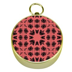 Digital Computer Graphic Seamless Patterned Ornament In A Red Colors For Design Gold Compasses