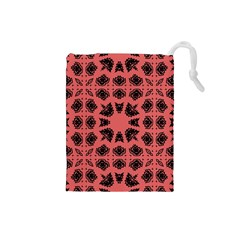 Digital Computer Graphic Seamless Patterned Ornament In A Red Colors For Design Drawstring Pouches (Small)
