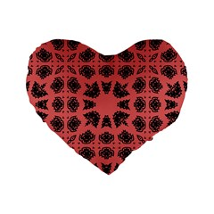 Digital Computer Graphic Seamless Patterned Ornament In A Red Colors For Design Standard 16  Premium Flano Heart Shape Cushions