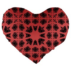 Digital Computer Graphic Seamless Patterned Ornament In A Red Colors For Design Large 19  Premium Flano Heart Shape Cushions