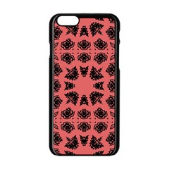 Digital Computer Graphic Seamless Patterned Ornament In A Red Colors For Design Apple iPhone 6/6S Black Enamel Case