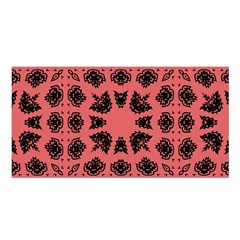 Digital Computer Graphic Seamless Patterned Ornament In A Red Colors For Design Satin Shawl