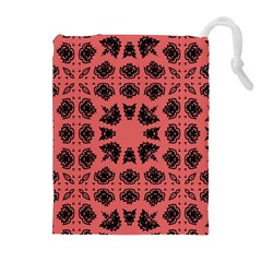 Digital Computer Graphic Seamless Patterned Ornament In A Red Colors For Design Drawstring Pouches (extra Large)