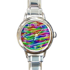 Digitally Created Abstract Rainbow Background Pattern Round Italian Charm Watch