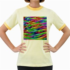 Digitally Created Abstract Rainbow Background Pattern Women s Fitted Ringer T Shirts