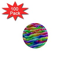 Digitally Created Abstract Rainbow Background Pattern 1  Mini Magnets (100 pack)