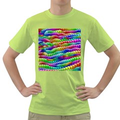 Digitally Created Abstract Rainbow Background Pattern Green T-Shirt